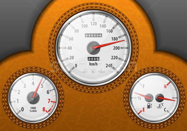 車 ダッシュボード 詳しい 革 計 燃料 ストックフォト © -TAlex-