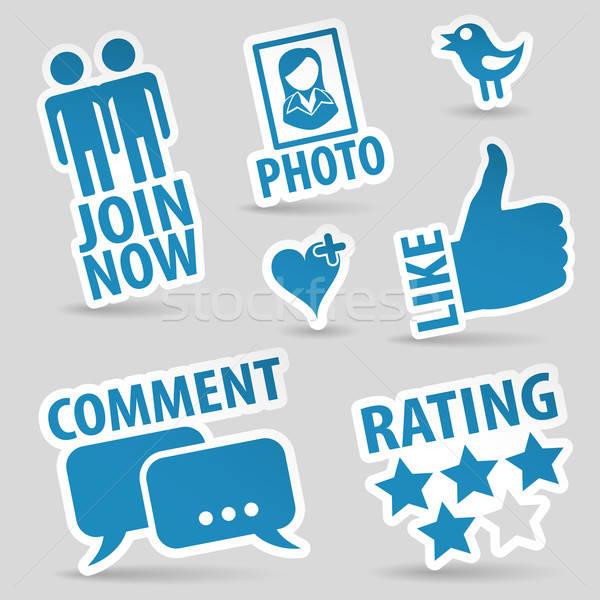 Stock fotó: Szett · közösségi · média · ikon · szett · matricák · ahogy · szövegbuborék