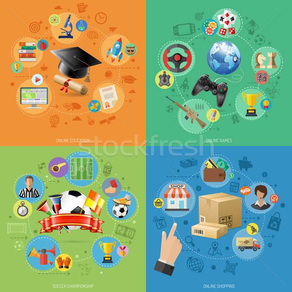 Stockfoto: Ingesteld · banners · online · internet · technologie