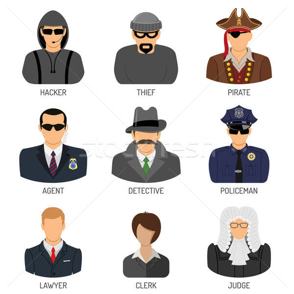 Set Characters of Criminals and Law Enforcers Stock photo © -TAlex-