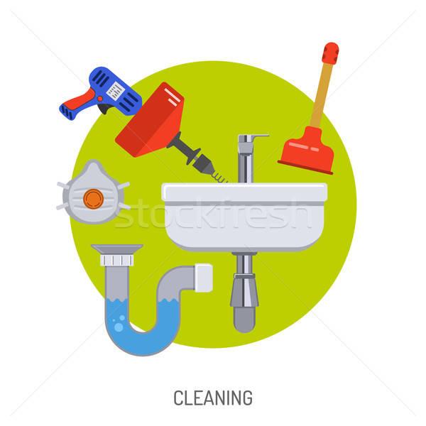 Csövek szolgáltatás takarítás mosdókagyló vízvezetékszerelő szerszámok Stock fotó © -TAlex-