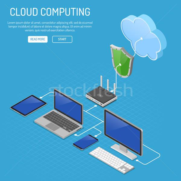 Сток-фото: технологий · изометрический · компьютер · ноутбука · смартфон