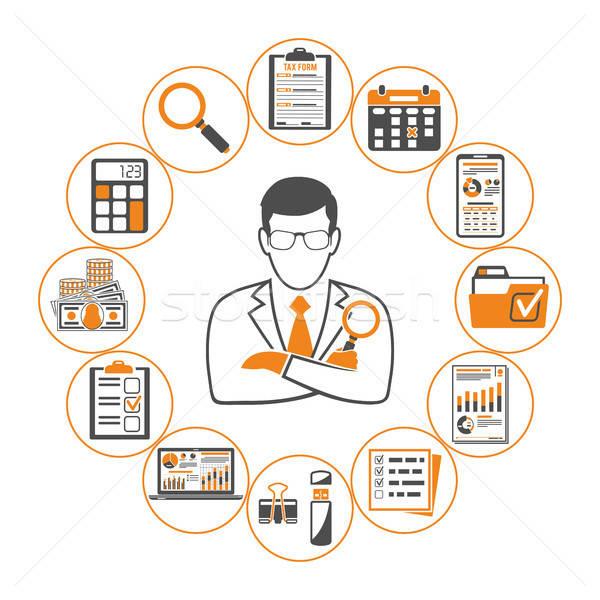 Impôt comptables infographie processus calcul affaires Photo stock © -TAlex-