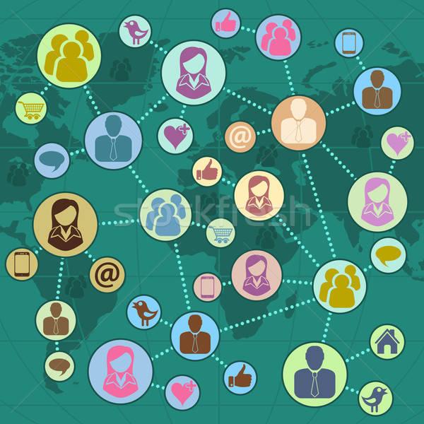 Rede social global trabalho em equipe moderno estilo ícones Foto stock © -TAlex-