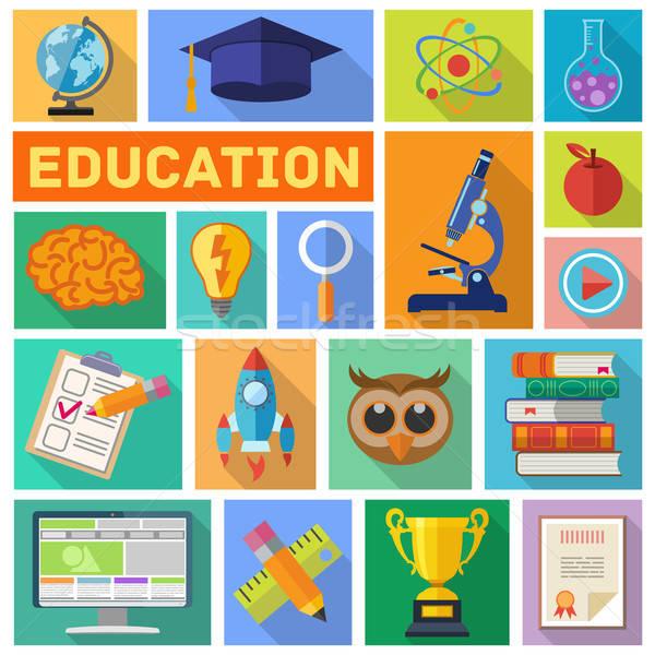 Oktatás ikon gyűjtemény online online oktatás szórólap poszter Stock fotó © -TAlex-