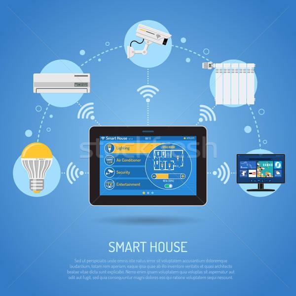 Stock fotó: Okos · ház · internet · dolgok · táblagép · otthon