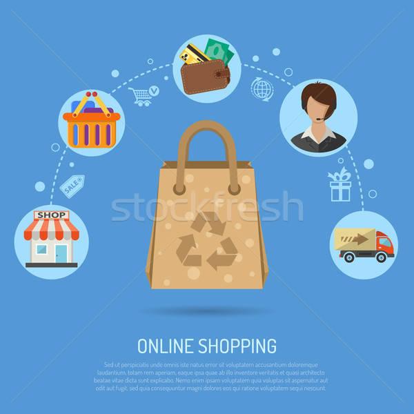 Online alışveriş infographics simgeler alışveriş teslim sepet Stok fotoğraf © -TAlex-