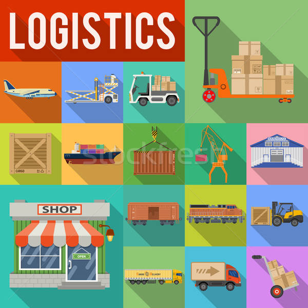 Cargo Transport and logistics Icon Set Stock photo © -TAlex-