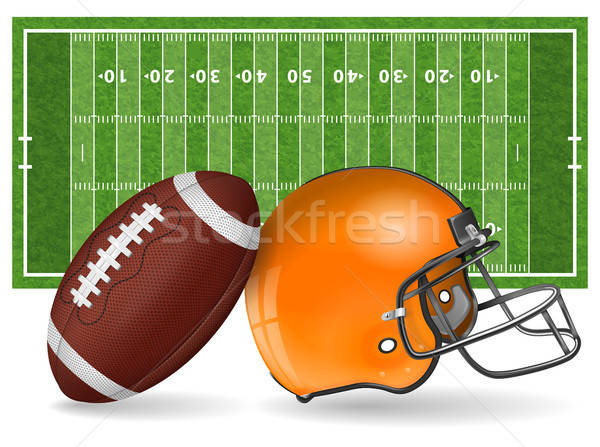 Amerikai futballpálya valósághű labda sisak vonal Stock fotó © -TAlex-