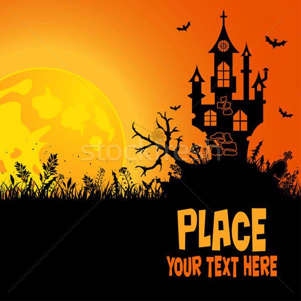 Halloween huis element ontwerp bloem boom Stockfoto © -TAlex-