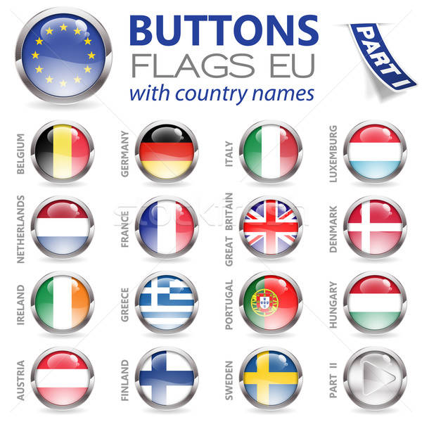 Buttons with EU Flags Stock photo © -TAlex-