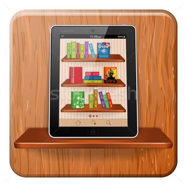 Ebook czytania książek aplikacja półka na książki Zdjęcia stock © -TAlex-