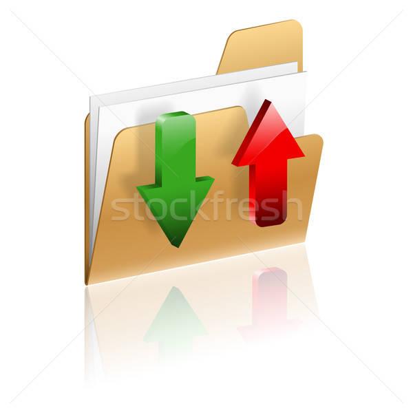 Letöltés feltöltés mappa ikon nyíl izolált Stock fotó © -TAlex-