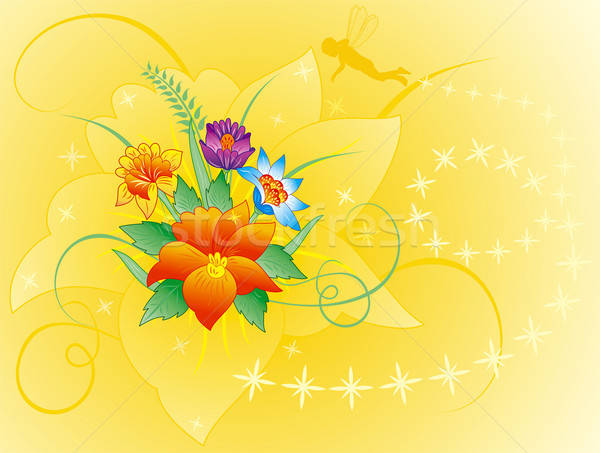 Floral background with silhouette elf Stock photo © -TAlex-