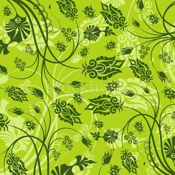 Abstract bloempatroon lieveheersbeestje element ontwerp bloem Stockfoto © -TAlex-