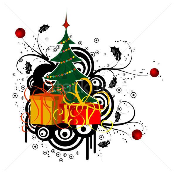 Absztrakt karácsony karácsonyfa ajándék alkotóelem terv Stock fotó © -TAlex-