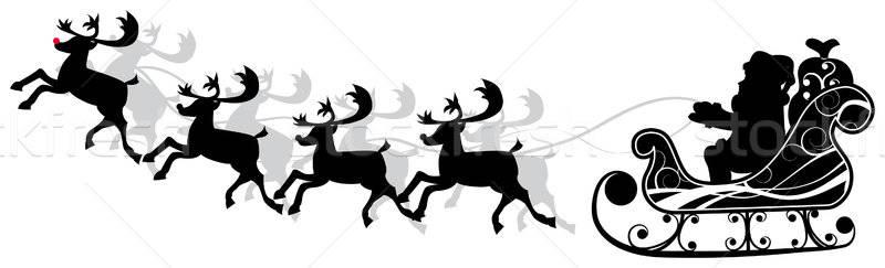 Christmas santa and deers, vector Stock photo © -TAlex-