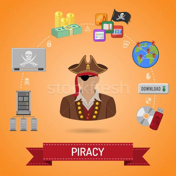 Piratería pirata vector iconos volante anunciante Foto stock © -TAlex-