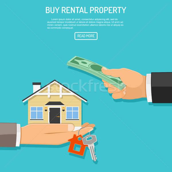 Vásárol bérlés ingatlan kéz pénz ház Stock fotó © -TAlex-