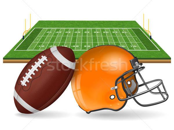 Americano campo de fútbol realista pelota objetivo casco Foto stock © -TAlex-