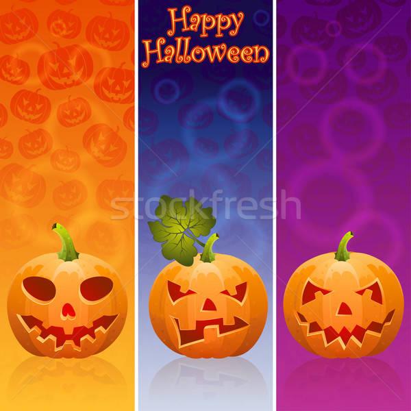 Halloween afiş üç kabak eps10 dizayn Stok fotoğraf © -TAlex-
