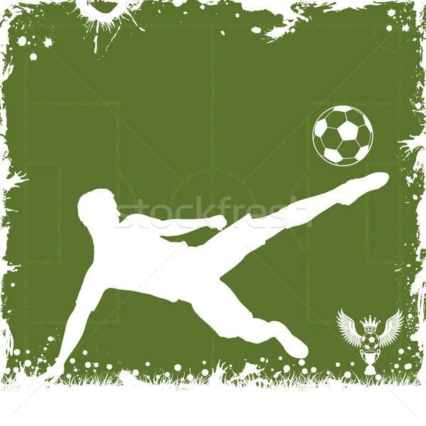 Foto stock: Futebol · quadro · grunge · grama · projeto