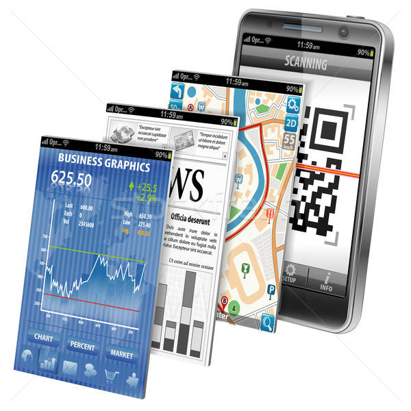 Smartphone applications bourse affaires nouvelles GPS Photo stock © -TAlex-