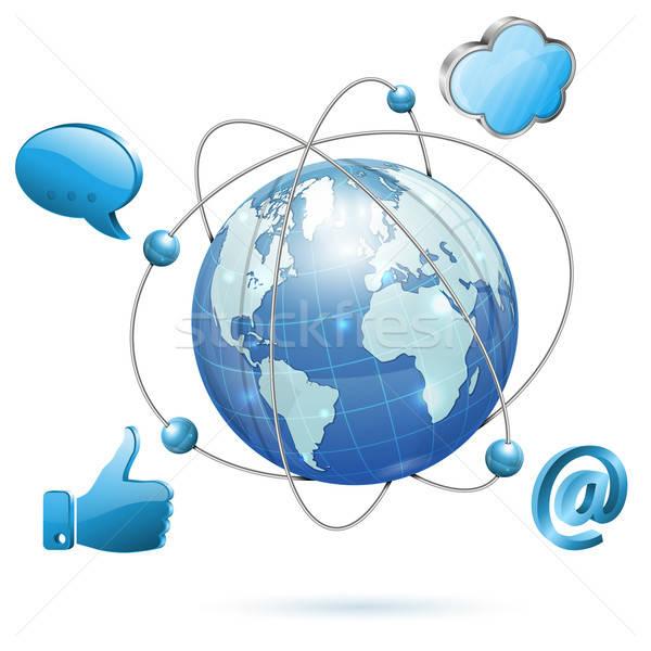Közösségi média Föld ikonok vektor izolált fehér Stock fotó © -TAlex-