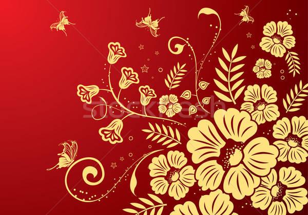 フローラル 蝶 デザイン 抽象的な 背景 ストックフォト © -TAlex-