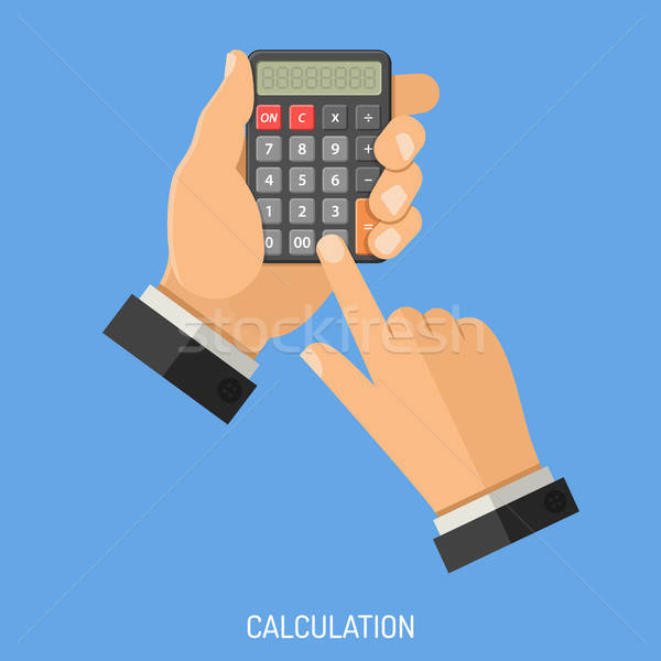 Berekening man calculator hand stijl Stockfoto © -TAlex-