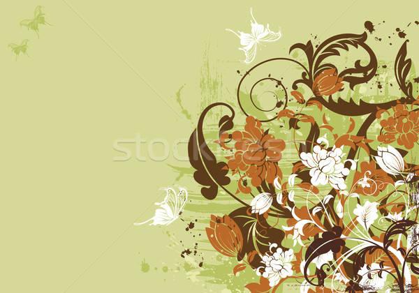 Virágmintás grunge pillangó alkotóelem terv tavasz Stock fotó © -TAlex-