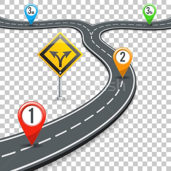 タイムライン 道路 インフォグラフィック ピン ビジネス 道路標識 ストックフォト © -TAlex-