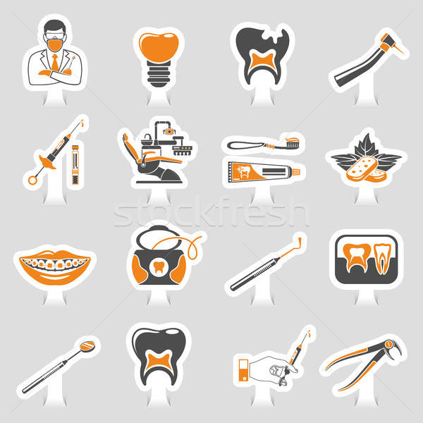 Dental Services sticker two color Sticker Icons Set Stock photo © -TAlex-
