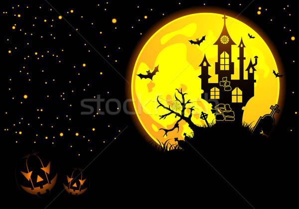 Halloween bat pompoen kasteel element ontwerp Stockfoto © -TAlex-