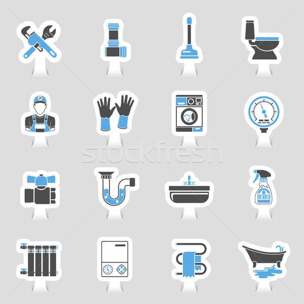 Encanamento serviço ícones adesivo conjunto dois Foto stock © -TAlex-