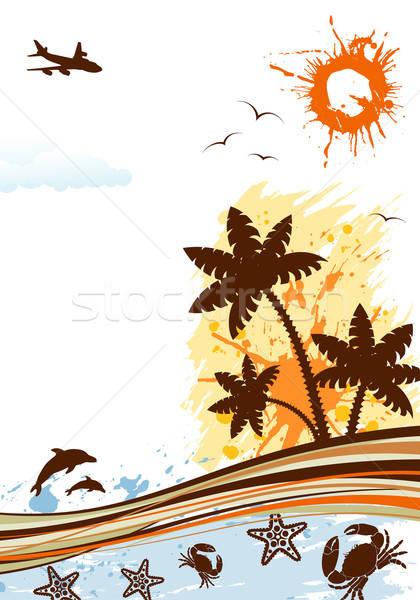 Verão quadro palmeira golfinho caranguejo starfish Foto stock © -TAlex-