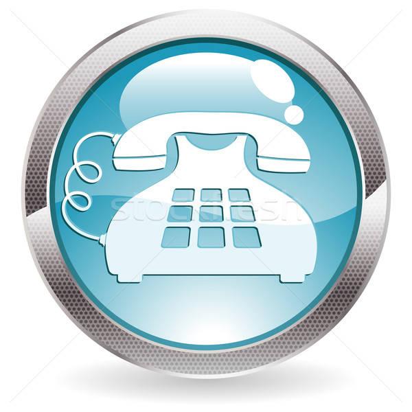 Glans knop cirkel telefoon icon Stockfoto © -TAlex-