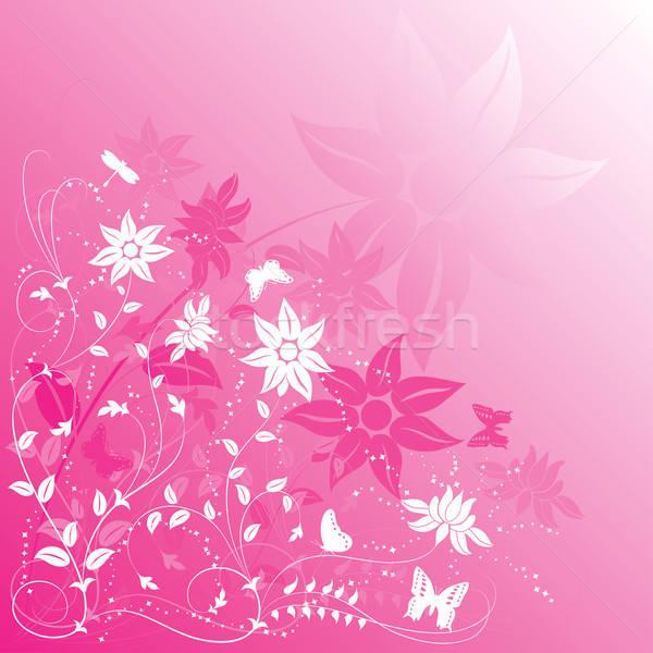 Virág pillangó illusztráció művészet nyár levelek Stock fotó © -TAlex-