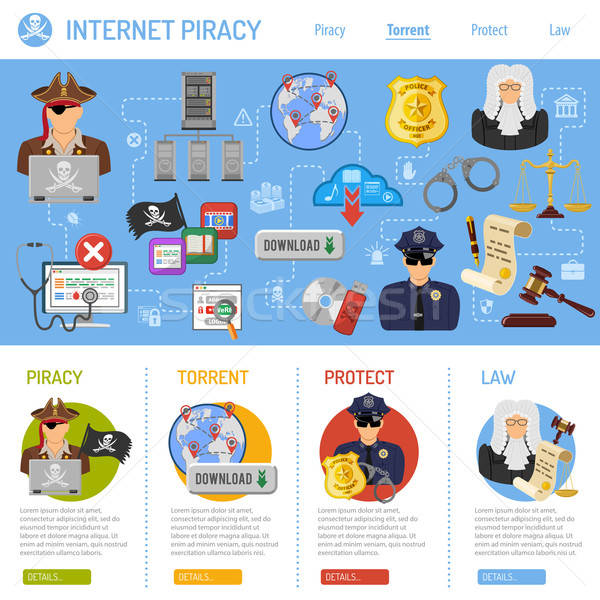 Internet piraterij vector iconen flyer poster Stockfoto © -TAlex-