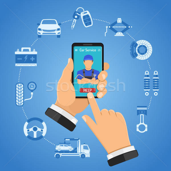 Ligne voiture services infographie homme smartphone Photo stock © -TAlex-