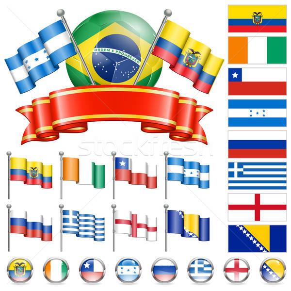 Fútbol campeonato mundo 2014 Brasil banderas Foto stock © -TAlex-