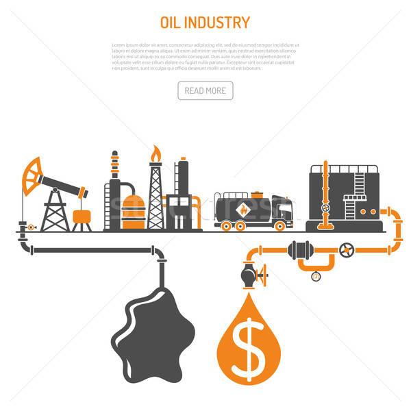 Olie-industrie twee kleur iconen productie raffinaderij Stockfoto © -TAlex-