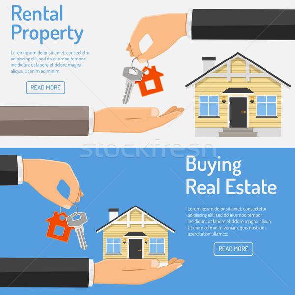 purchase and rental real estate banners Stock photo © -TAlex-