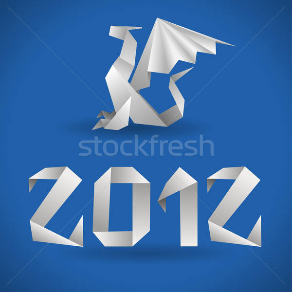 Photo stock: Origami · dragon · 2012 · année · élément · design