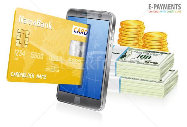 Elektronik hareketli kredi kartları para Stok fotoğraf © -TAlex-