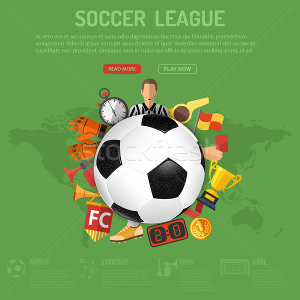 Stock fotó: Futball · poszter · futball · futballabda · ikonok · 3D