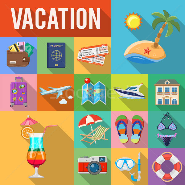 Vacation and Tourism Flat Icons Set Stock photo © -TAlex-