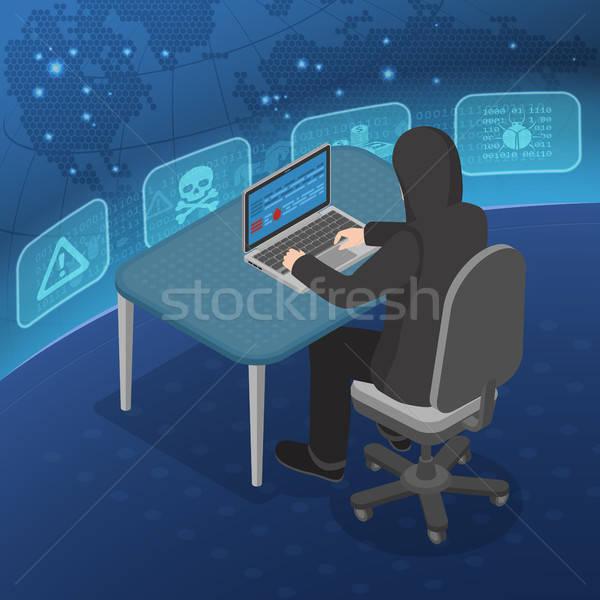Hacker Activity Isometric Concept Stock photo © -TAlex-