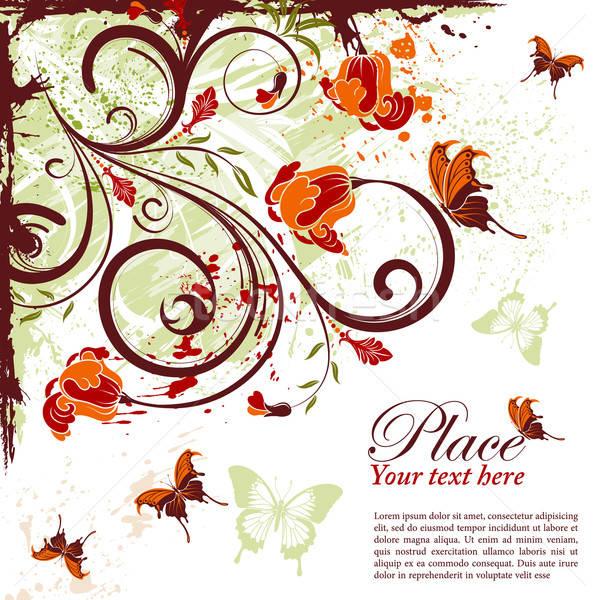 Virágmintás keret grunge dekoratív pillangó alkotóelem Stock fotó © -TAlex-
