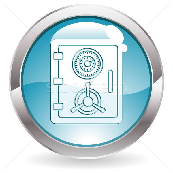 Botão seguro ícone tridimensional círculo lustro Foto stock © -TAlex-